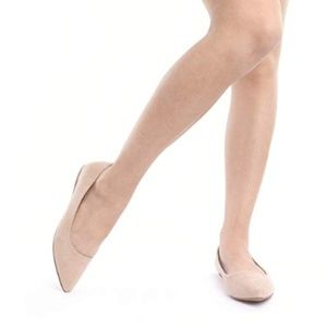 Shoes - Nude Pointy Toe Suede Ballet Flats